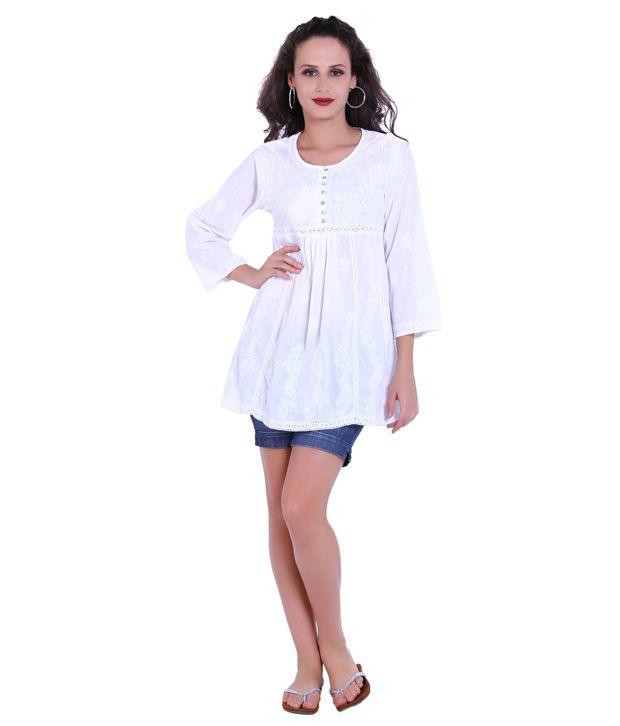 Indi Dori White Embroidered Cotton Kurti