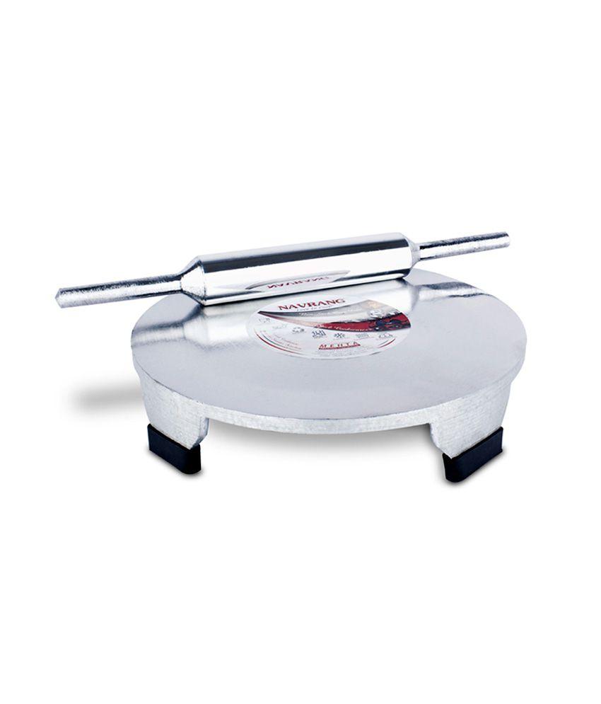 Navrang Cookware Silver Aluminium Polpat Roti Roller Combo (2 Pcs)