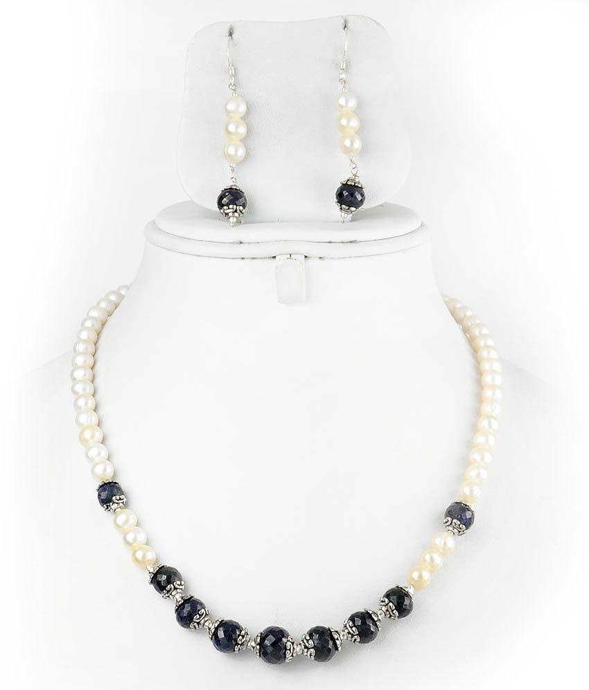 Single Line Beads: Barishh Cultured Pearl Sapphire Bead Single Line Necklace