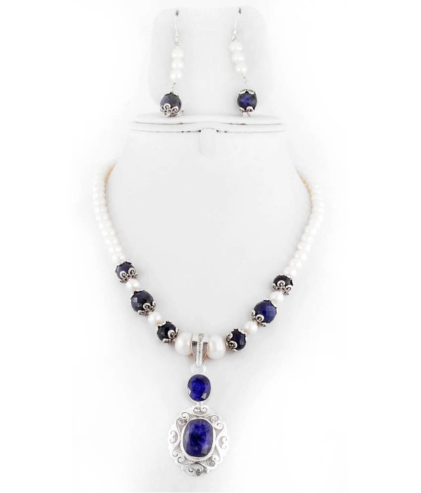 Barishh Gems Cultured Pearl Single Line Necklace With Blue Sapphire Pendant