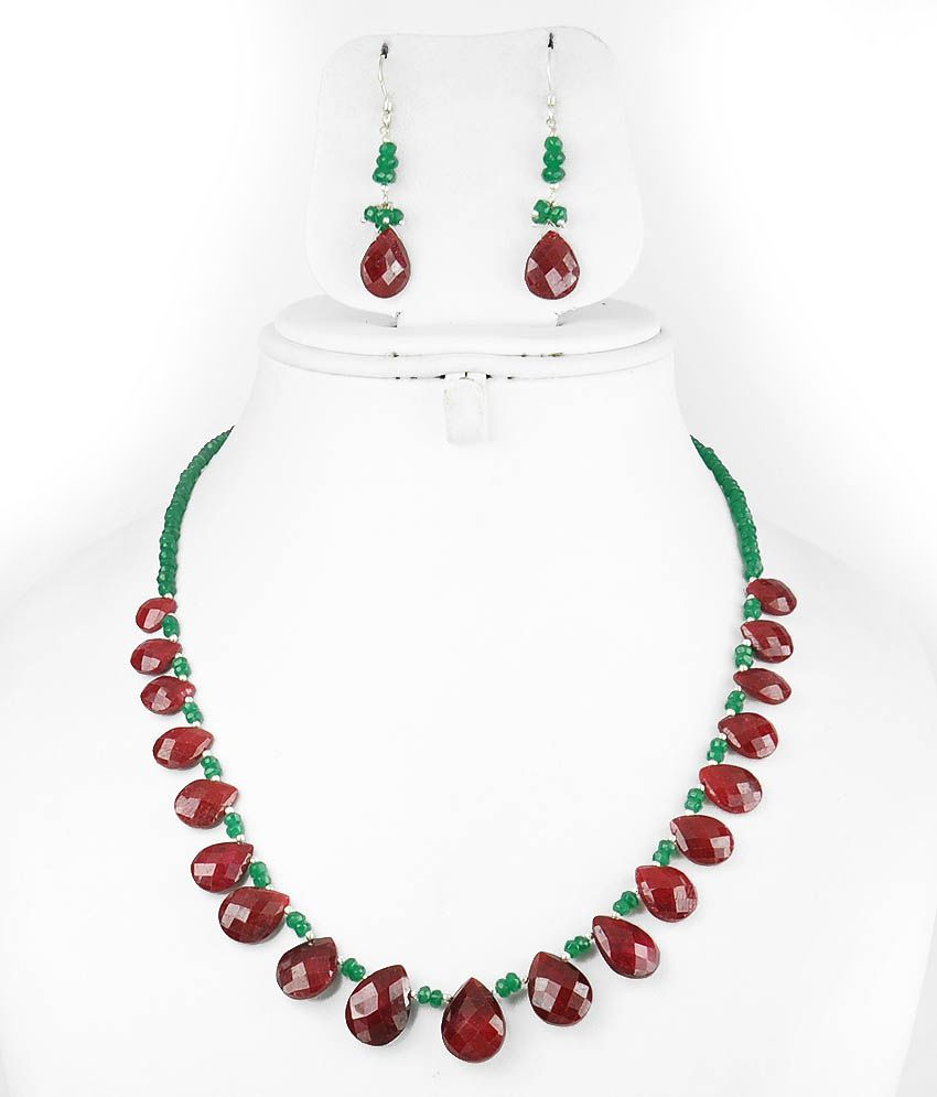Barishh Single Strand Drop Ruby Bead With Emerald String Gemstone Necklace