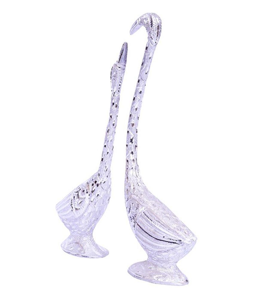 E Soft Silver Beautiful Swan Pair Showpiece (2 Piece)