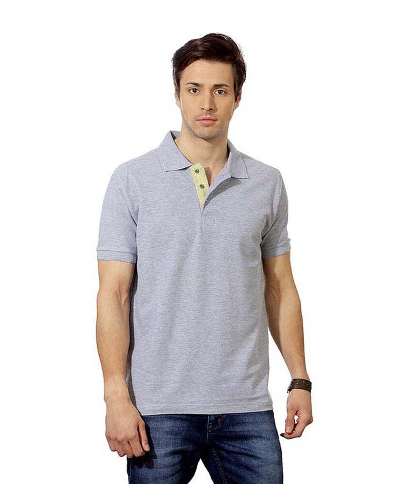 Swank Gray Half Solids Polo T-Shirt