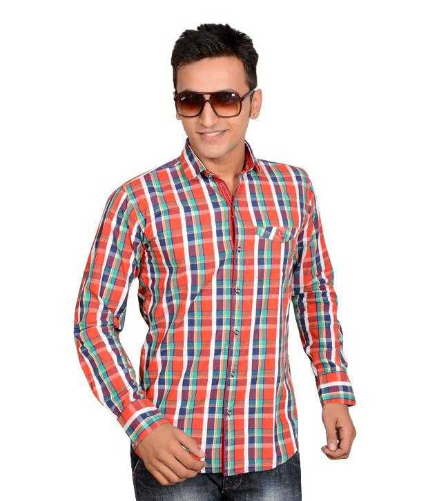 Anry men red green checked shirt buy anry men red for Red and green checked shirt