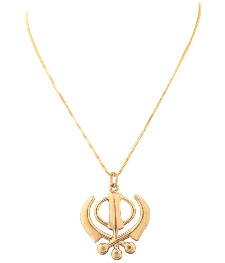 Religious gold plated punjabi khanda pendant with chain by goldnera mozeypictures Images