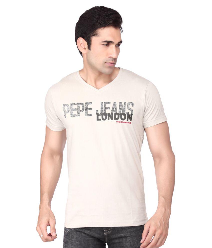 Pepe Jeans London Beige Cotton T-shirt