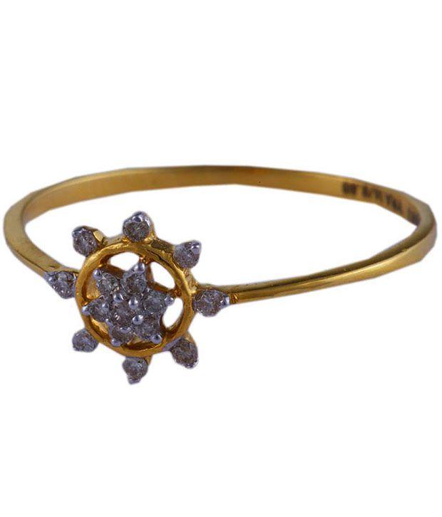 Santushti Jewels Floral 14kt Gold Diamond Ring