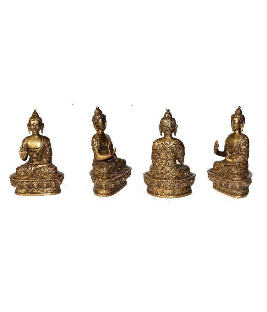 Ankit Gold Brass Divine Meditating Buddha Idol On Lotus