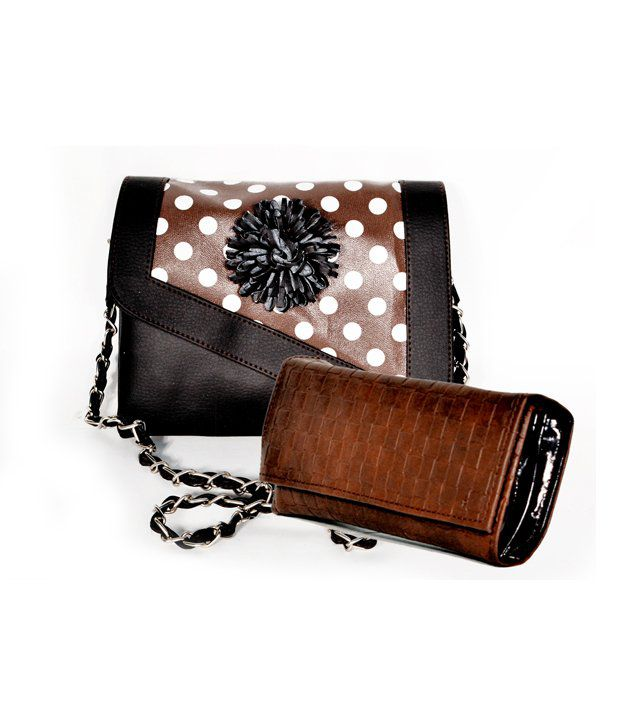 D Jindal's Brwon Black Hand Bag With Brwon Purse