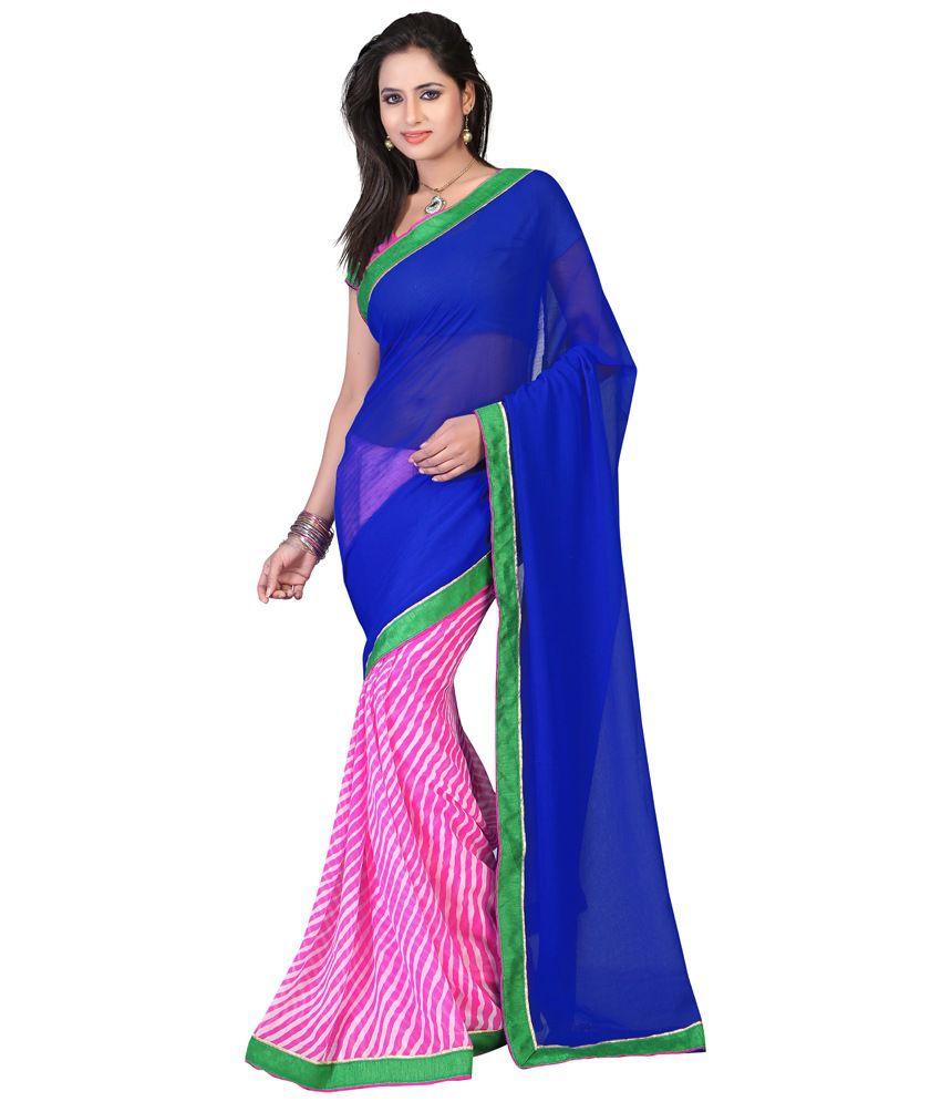 Bunny Sarees Nice Looking Blue Colour Satin Saree