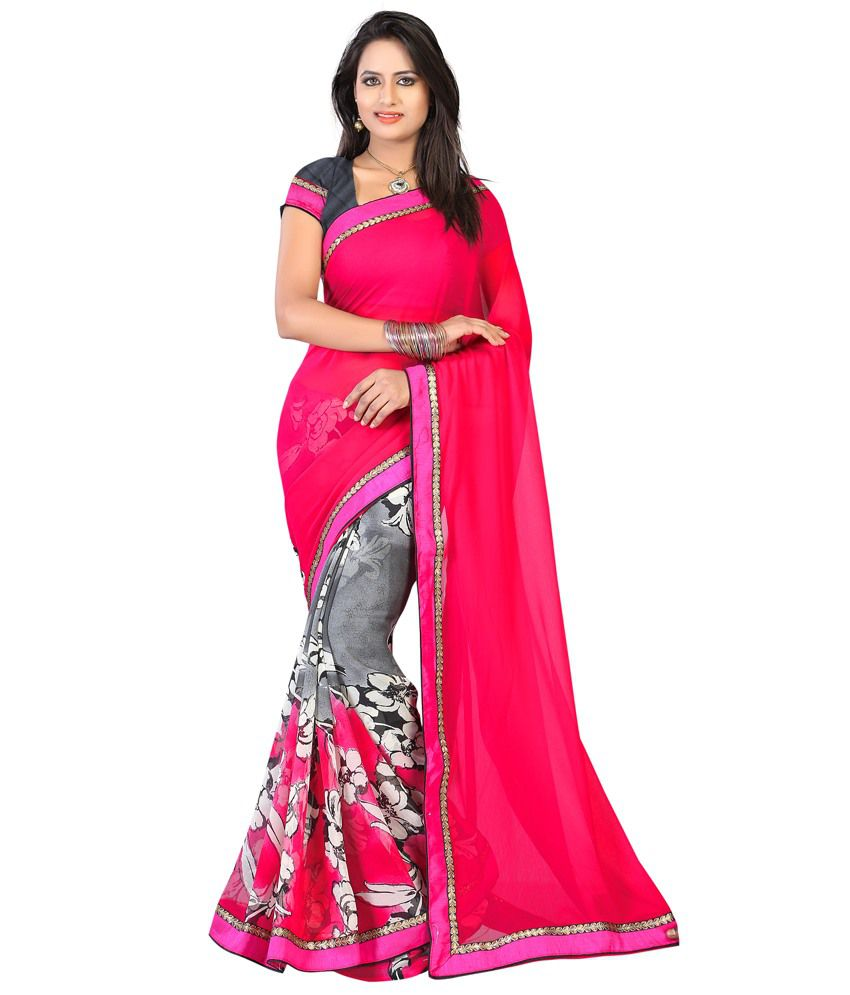 Bunny Sarees Swanky Pink Colour Satin Saree
