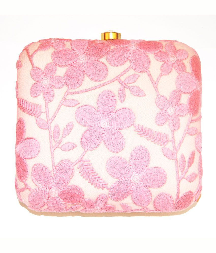 Ruhmet Floral Lace Play Square Box Clutch Pink