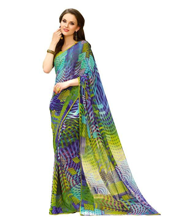 Fabdeal Violet & Yellow Colored Georgette Printed Saree