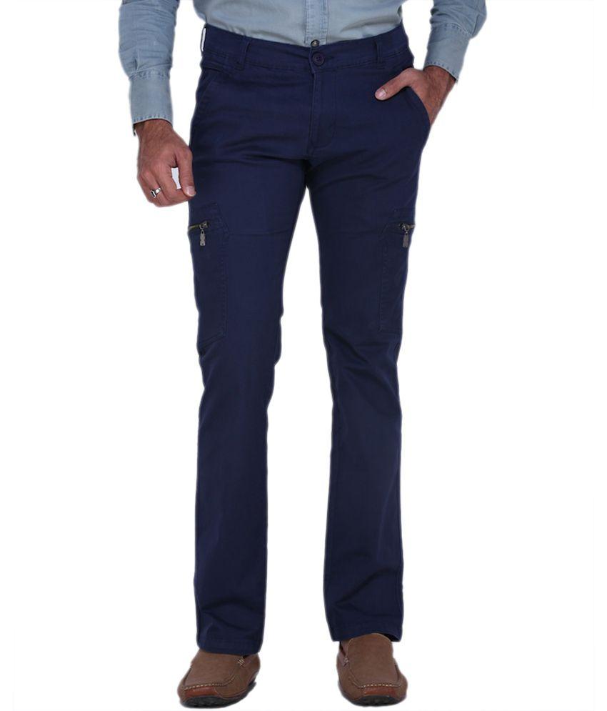 Fast N Fashion Blue Slim Fit Casual Cargo