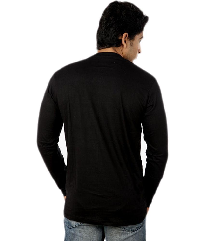 Black t shirt round neck -  Joke Tees Black Cotton Full Sleeve Round Neck T Shirt