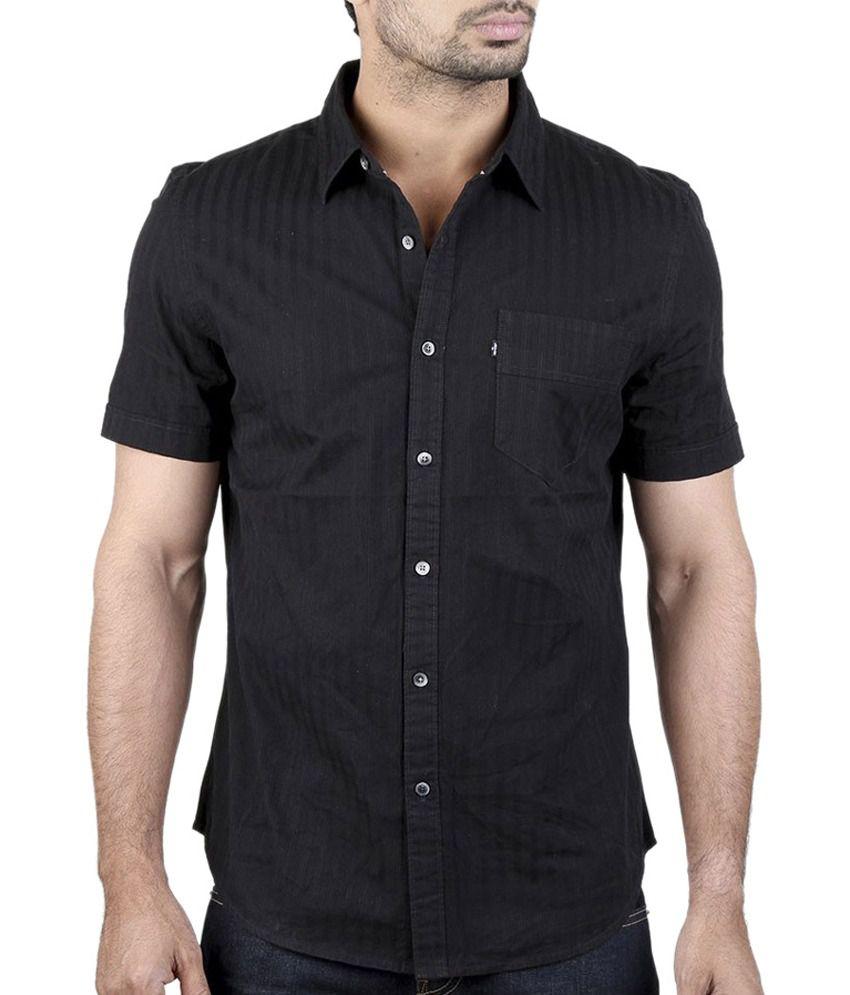 ad5e38dd414 Levi s Black 100 Percent Cotton Half Sleeve Casual Shirt - Buy Levi s Black  100 Percent Cotton Half Sleeve Casual Shirt Online at Best Prices in India  on ...