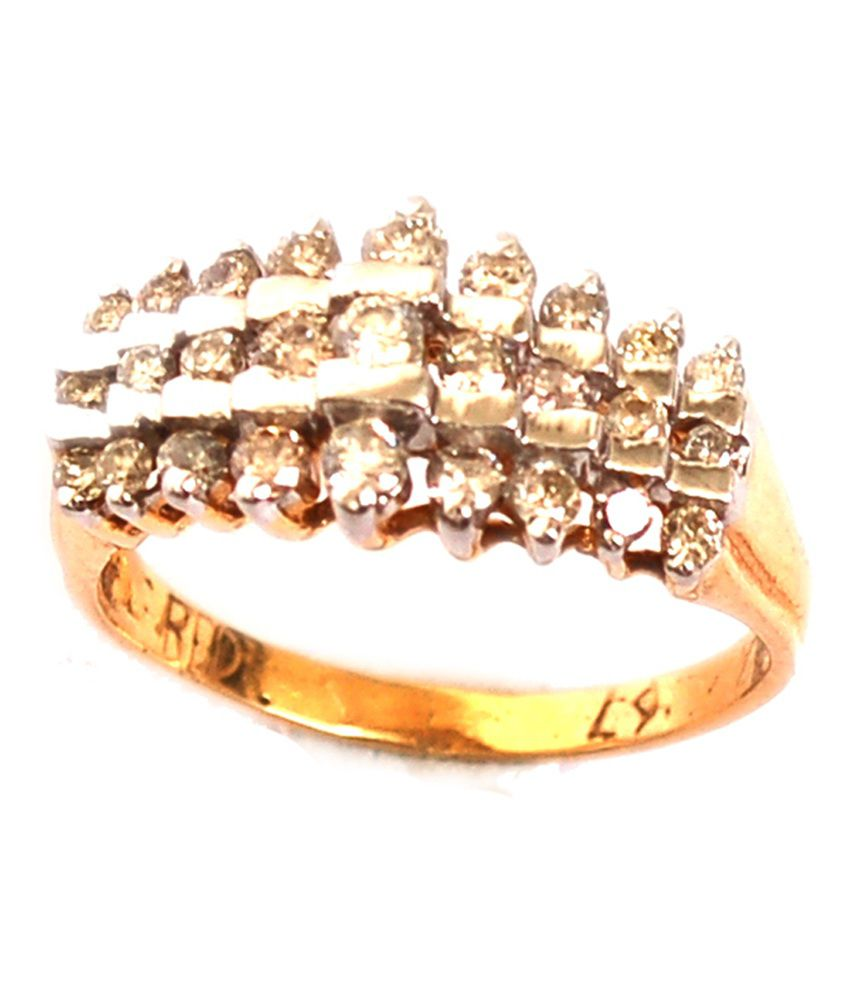 Rd 18kt Gold Plated Diamond Traditional Ring