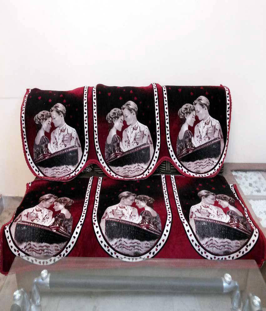 Shc Titanic Maroon Sofa Cover Set Buy Shc Titanic Maroon Sofa