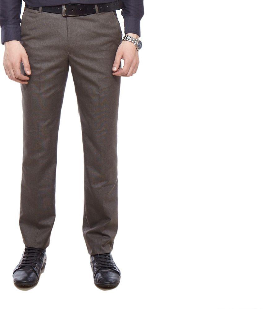 Solemio Brown Formal Slim Fit Trouser