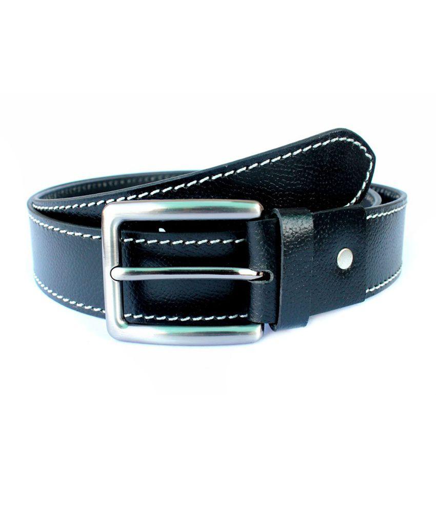 Tops Black Side Stitched Leather Belt for Men