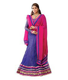 c189f1d1bc Quick View. Melluha Pink and Blue Net Embroidered Booti Work Lehenga