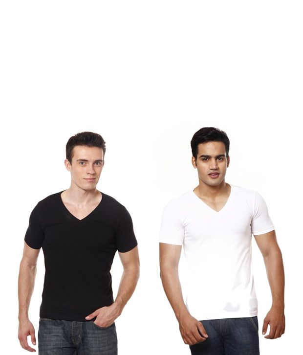 Casual Tees White And Black V Neck T- Shirt