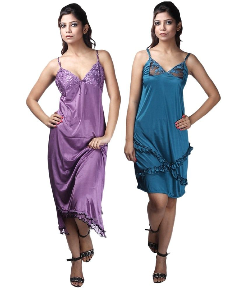 Fiona Multi Color Satin Baby Doll Dresses
