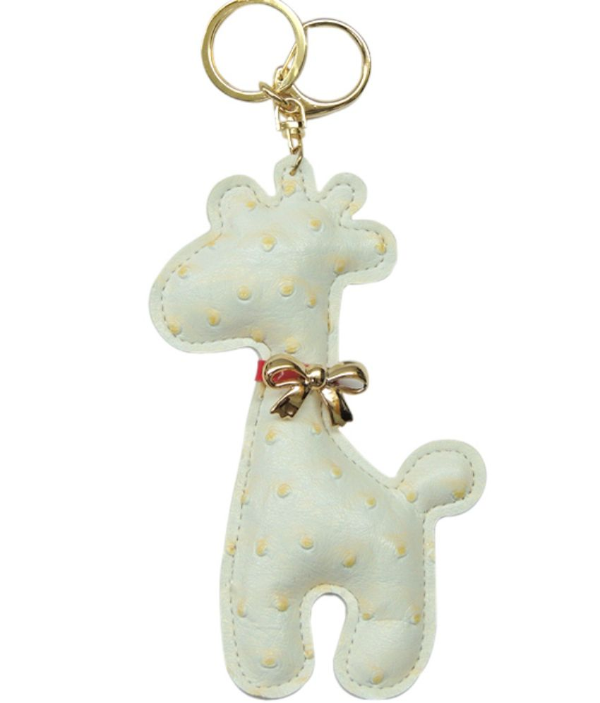 Young & Forever Cute Giraffe Handmade Ostrich Leather Bag Charm Key Ring & Keychain White