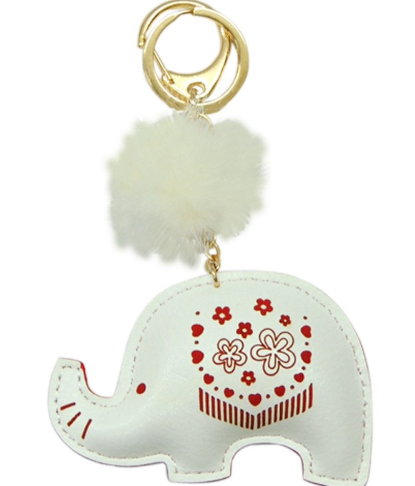 Young & Forever Lucky Elephant Handmade Leather Bag Charm Key Ring & Keychain White