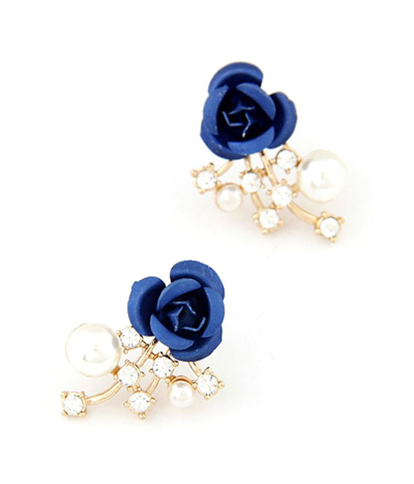 Jeweltouch Mechanical Dark Blue Rose Flower Decorated Design Alloy Stud Earrings
