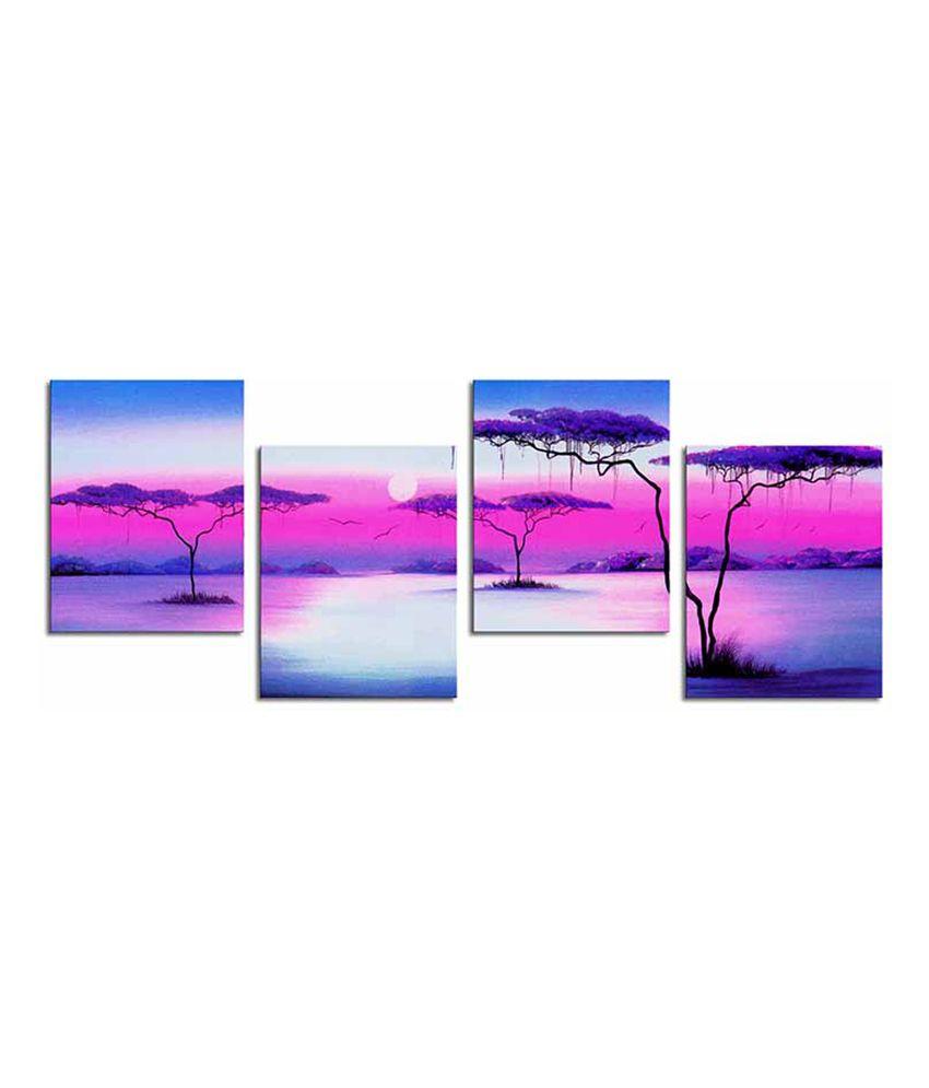 Painting Mantra Sunrise Canvas Art Set - 4 Piece
