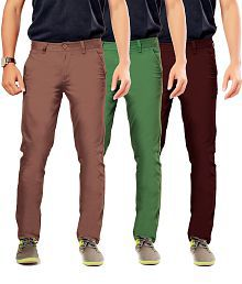 Uber Urban Brown Cotton Slim Casuals Chinos - Pack Of 3