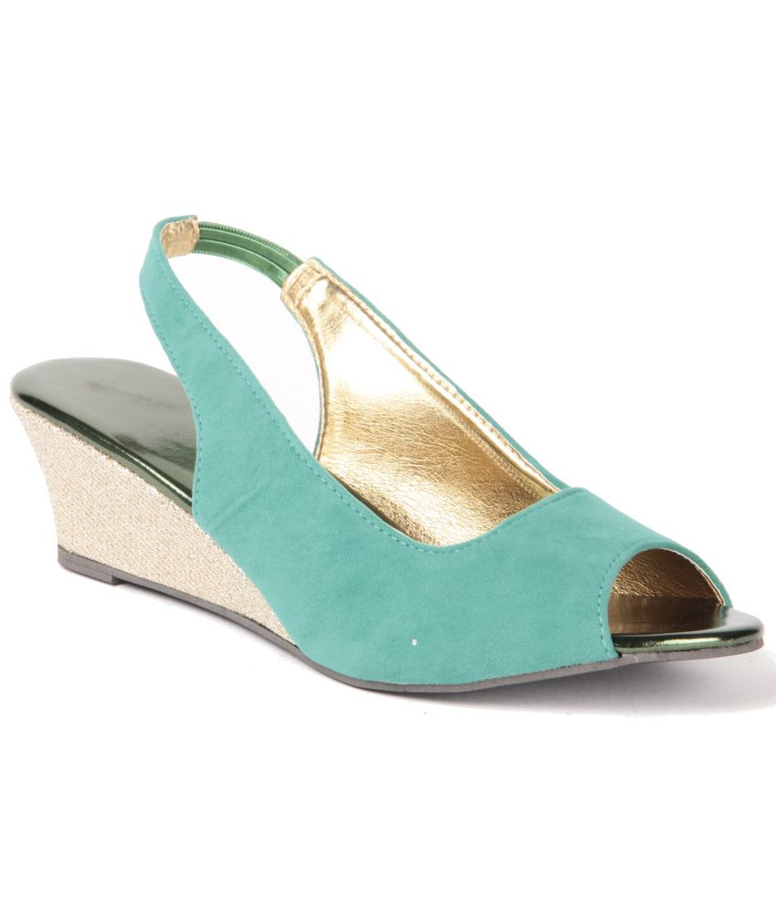 Anand Archies Turquoise Wedges Sandals