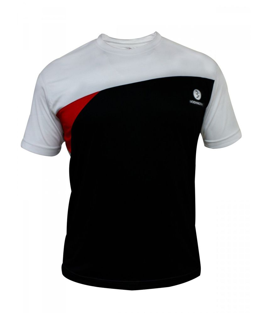Body Active Black Cotton Blend Sports T-shirt