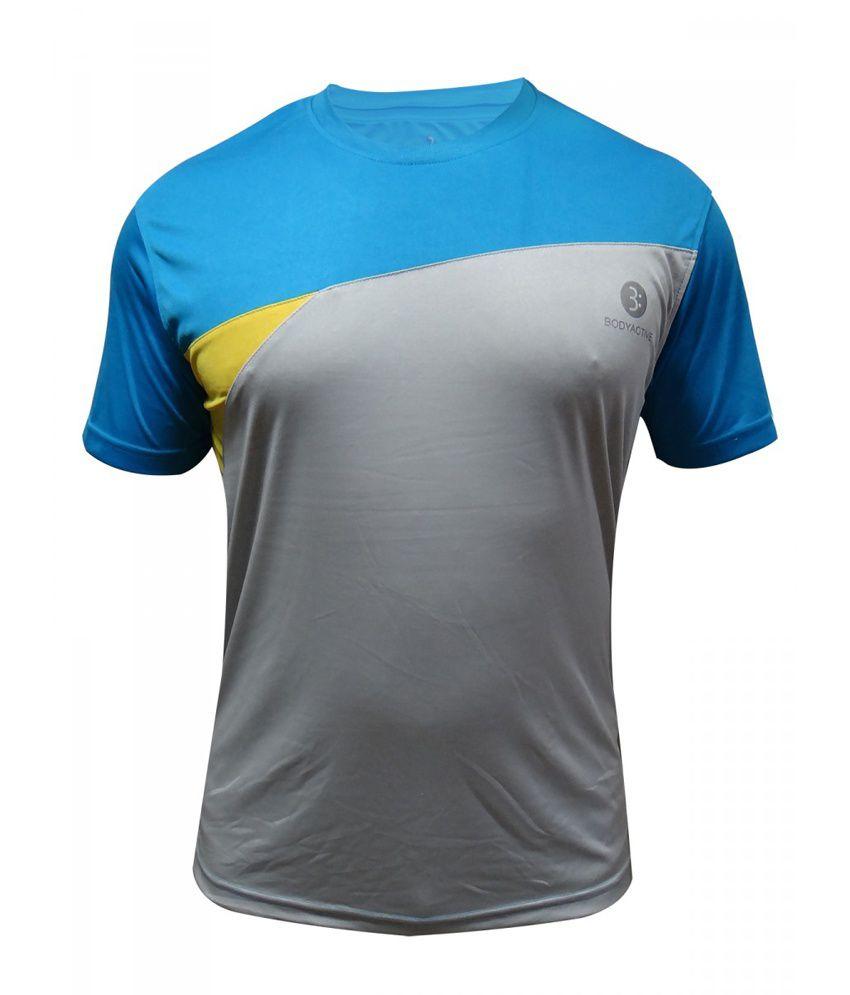 Body Active Blue Cotton Blend Sports T-Shirt