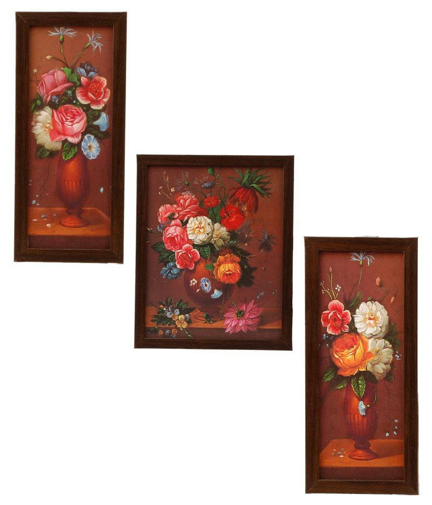 Indianara 3 Pc Set Of Framed Wall Hanging Pictures (small) - Flowers In A Vase -brown