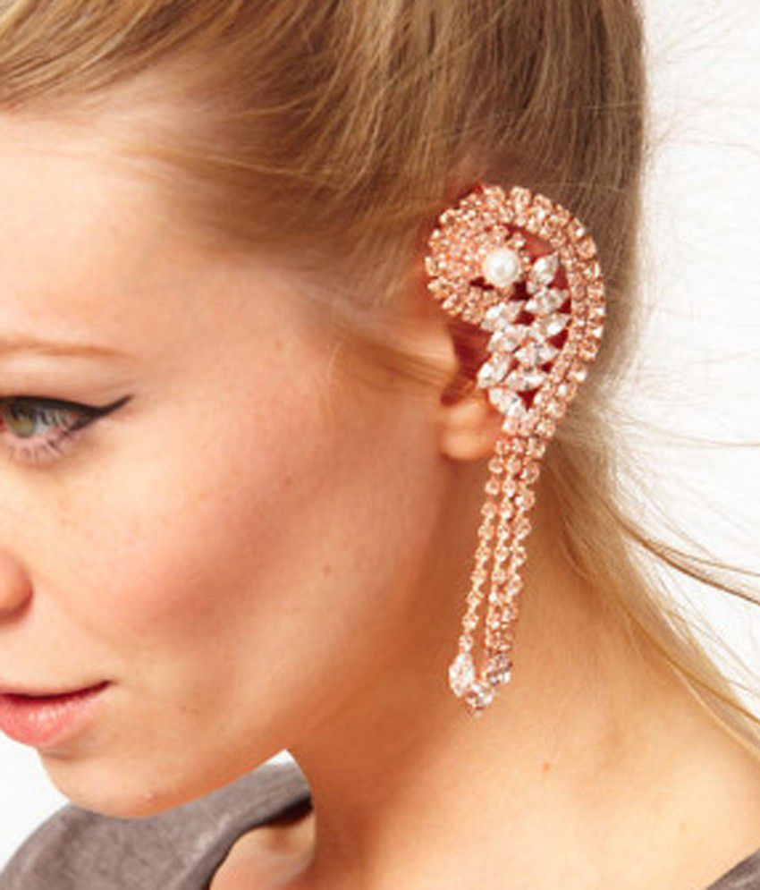 Rose Gold Crystal Jacket Ear Cuff Earring (left Ear Only)