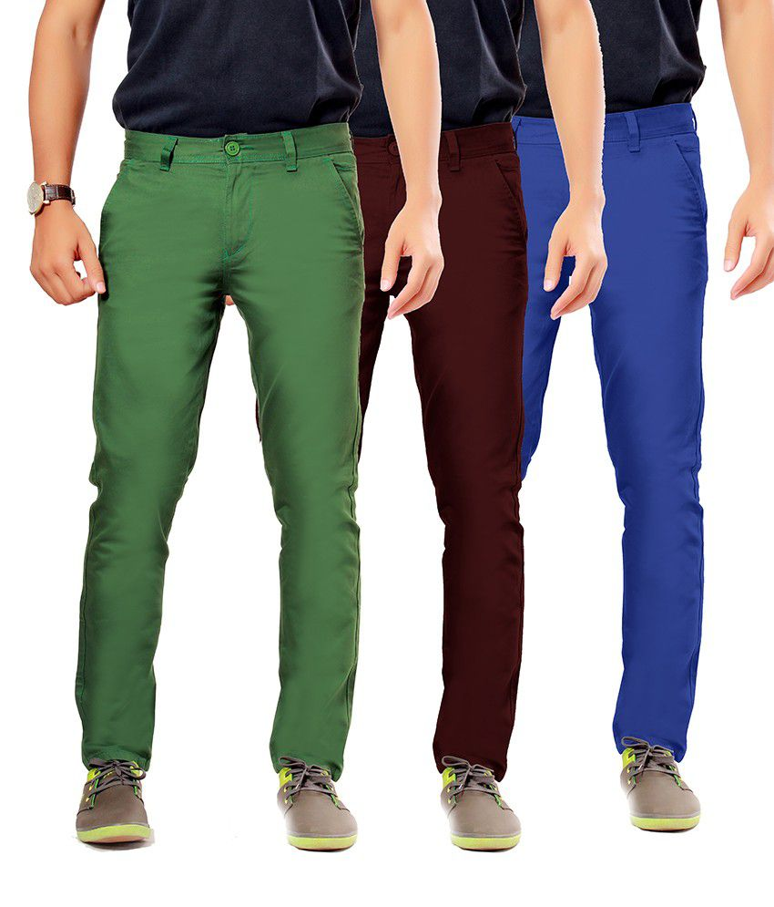 Uber Urban Green Cotton Slim Casuals Chinos - Pack Of 3
