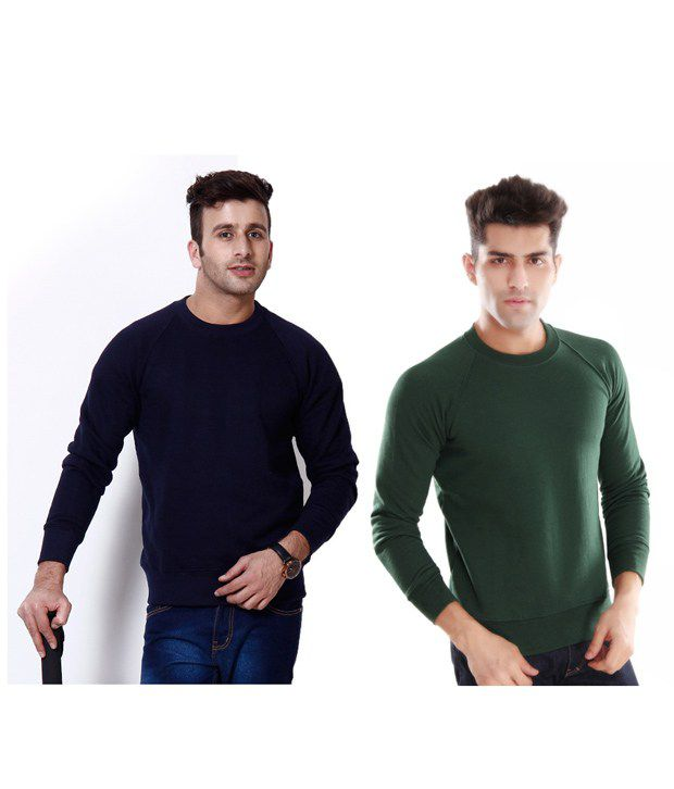 Casual Tees Fleece Navy And Green Sweatshirt Combo