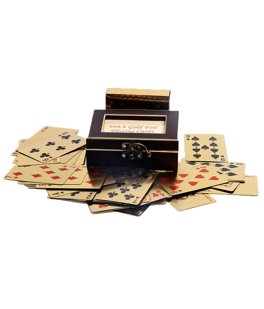Finearts Gold Plated Playing Cards With Wooden Box