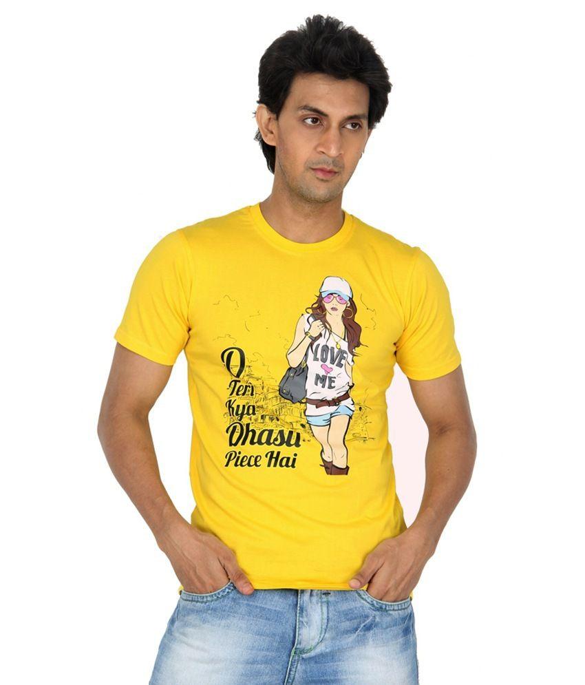 TeesTadka Yellow Round Neck Printed Cotton Half Slevees T -Shirt
