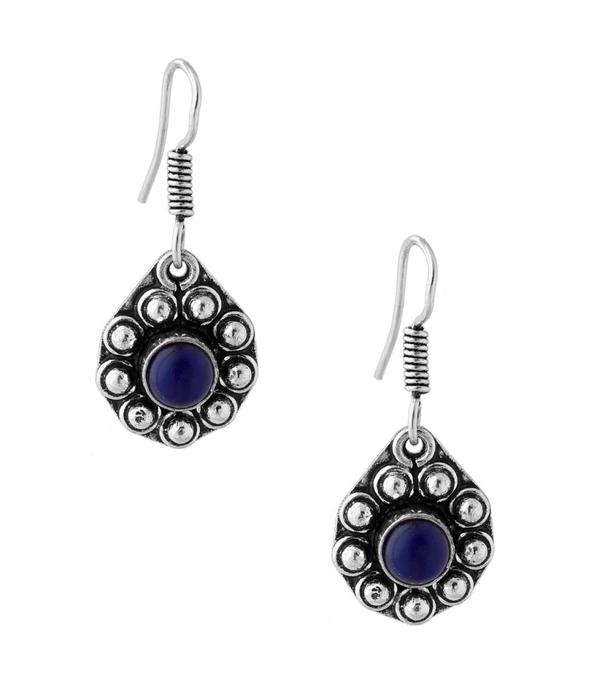 Voylla Delicate Pair Of Dangler Earrings With Blue Color Stone