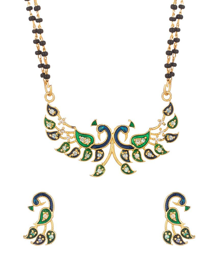 Voylla Double Chain Peacock Mangalsutra With Blue Enamel Decked With Cz
