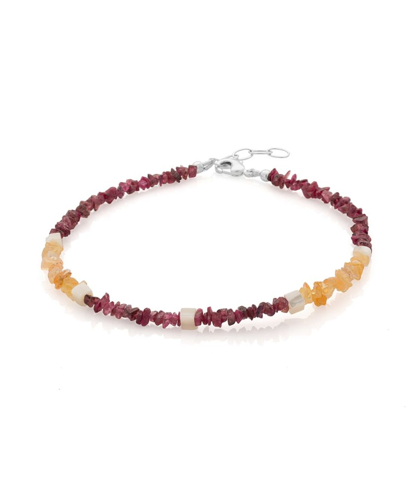 Voylla Magnificent Silver Plated Single Anklet Decked With Garnet, Opal And Mother Of Pearl