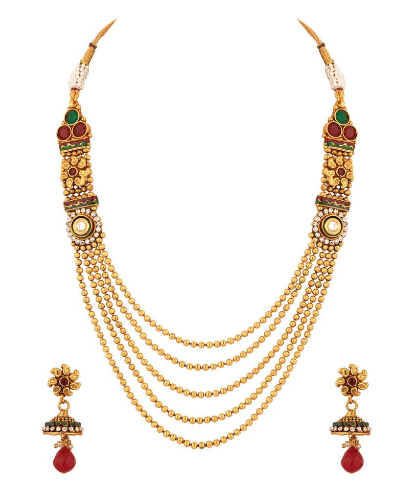 Voylla Necklace Set With Kundan Inspired Work Adorned With Cz