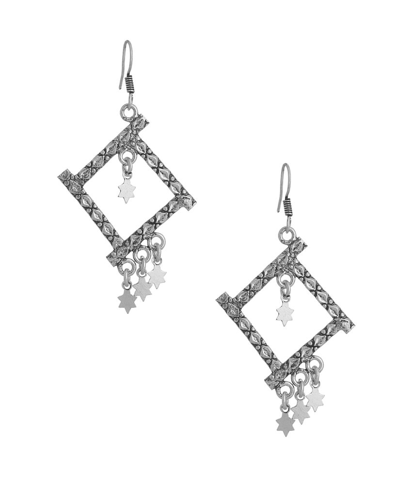 Voylla Pair Of Dangler Earrings With Square Shaped Motif