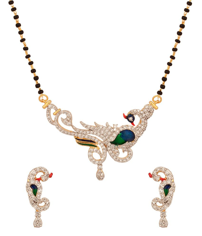 Voylla Single Chain Mangalsutra Set With Cz Decked Peacock Motif