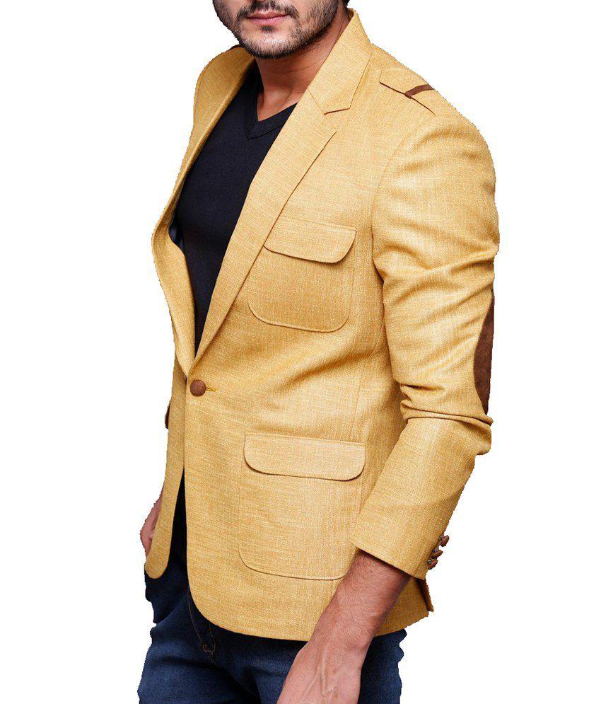 Azio Design Solid Musturd Linen Blazer - Buy Azio Design Solid ...