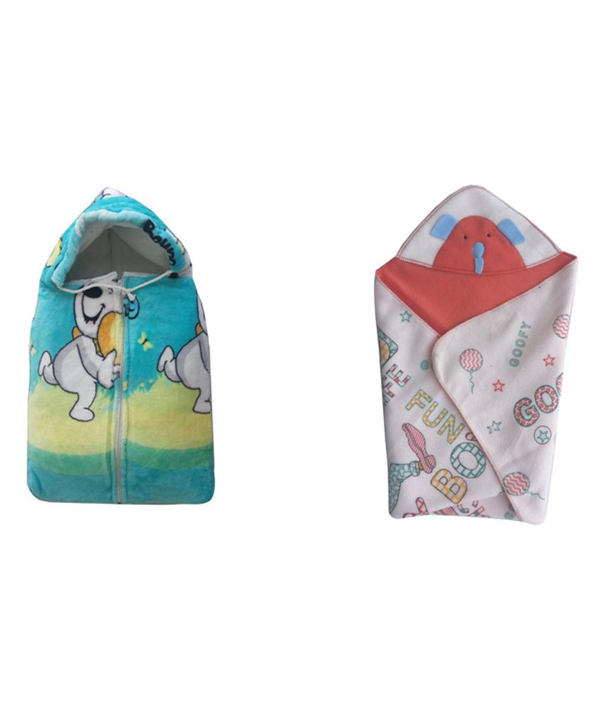 Cute Baby Teddy Print Baby Sleeping Bag And Head Covering Baby Holding Sheet