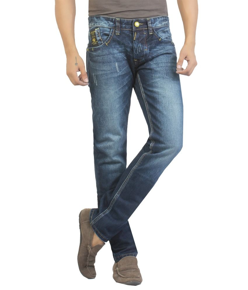 Jeyorsel Dark Blue Mid Rise Ripped Cotton Lycra Slim Fit Denim Jeans